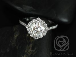Rosados Box Rori 7mm 14kt White Gold Cushion F1- Moissanite and Diamond Kite Halo WITHOUT Milgrain Engagement Ring