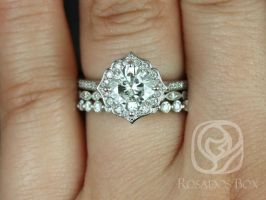 Rosados Box Rori 7mm, Ult Pt Gwen, & Pte Naomi 14kt Gold Cushion F1- Moissanite Diamond Halo WITHOUT Milgrain TRIO Wedding Set