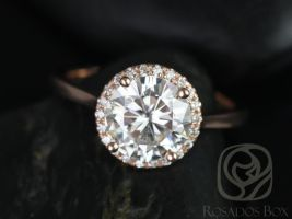Rosados Box Shannon 8.50mm 14kt Rose Gold Round F1- Moissanite and Diamonds Extra Low Halo Engagement Ring