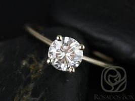 Rosados Box Skinny Alberta 6.5mm Yellow Gold Round Forever One Moissanite Tulip Solitaire Engagement Ring