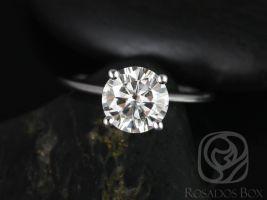 Rosados Box Skinny Alberta 8mm 14kt White Gold Round Forever One Moissanite Solitaire Engagement Ring