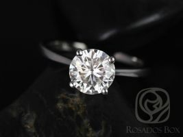 Rosados Box Skinny Flora 8mm 14kt White Gold Round F1- Moissanite Tulip Cathedral Solitaire Engagement Ring