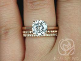 Rosados Box Skinny Flora 8mm, Buddha Beads, Kimberly 14kt Rose Gold Round F1- Moissanite and Diamond TRIO Wedding Set