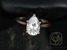 Rosados Box Skinny Jane 14kt Rose Gold Pear Shaped Tulip Cathedral Solitaire Engagement Ring 10x7mm F1- Moissanite