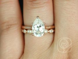 Rosados Box Skinny Jane 10x7mm & Christie 14kt Rose Gold Pear F1- Moissanite Tulip Cathedral Solitaire Wedding Set