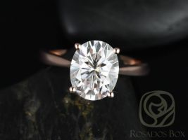 Rosados Box Skinny Lois 10x8mm 14kt Rose Gold Oval F1- Moissanite Tulip Cathedral Solitaire Engagement Ring