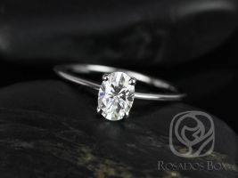 Rosados Box Skinny Rhonda 7x5mm 14kt White Gold Oval F1- Moissanite Tulip Solitaire Engagement Ring