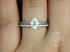 Rosados Box Skinny Rhonda 7x5mm & Marcelle 14kt White Gold Oval F1- Moissanite and Diamond Wedding Set