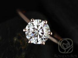 Rosados Box Skinny Webster 7.5mm Rose Gold Round F1- Moissanite Six-Prong Webbed Engagement Ring