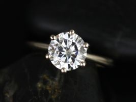 Rosados Box Skinny Webster 7.5mm Yellow Gold Round F1- Moissanite Six-Prong Webbed Engagement Ring