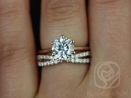 Rosados Box Skinny Webster 7.5mm & Lima 14kt Rose Gold Round F1- Moissanite Six-Prong Webbed Wedding Set