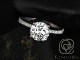 Rosados Box Sofia 8mm 14kt White Gold Round F1- Moissanite and Diamond Basket Engagement Ring