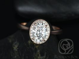 Rosados Box Swink 8x6mm 14kt Rose Gold Oval F1- Moissanite and Diamond Pave Halo Engagement Ring