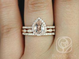Rosados Box Tabitha 8x6mm and Christie Rose Gold Pear Morganite and Diamonds Halo TRIO Wedding Set