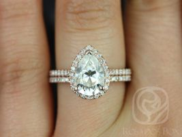 Rosados Box Tabitha 10x7mm 14kt Rose Gold Pear F1- Moissanite and Diamonds Halo Classic Wedding Set