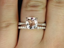 Rosados Box Taylor 8mm 14kt Rose Gold Cushion Morganite and Diamonds Cathedral Wedding Set