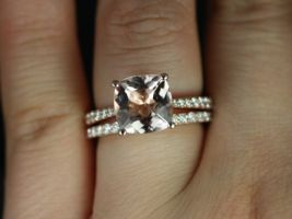 Rosados Box Taylor 9mm 14kt Rose Gold Cushion Morganite Diamond Cathedral Wedding Set