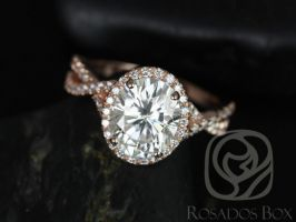 Rosados Box Thelma 10x8mm 14kt Rose Gold Oval F1- Moissanite and Diamond Twisted Halo Engagement Ring