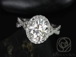 Rosados Box Thelma 10x8mm 14kt White Gold Oval F1- Moissanite and Diamond Twisted Halo Engagement Ring