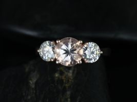Rosados Box Tina 7mm 14kt Rose Gold Round Morganite and F1- Moissanite 3 Stone Engagement Ring