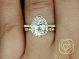 Rosados Box Toni 10x7mm & Christie 14kt Rose Gold Pear F1- Moissanite and Diamonds Wedding Set