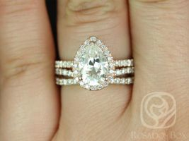 Rosados Box Toni 10x7mm & Lima 14kt Rose Gold Pear F1- Moissanite and Diamonds Wedding Set