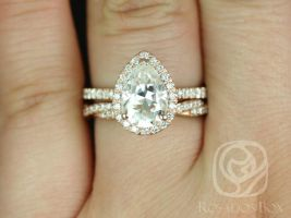 Rosados Box Toni 10x7mm & Twyla 14kt Rose Gold Pear F1- Moissanite and Diamonds Wedding Set