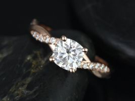 Rosados Box Tressa 6mm 14kt Rose Gold Cushion F1- Moissanite and Diamond Twist Engagement Ring