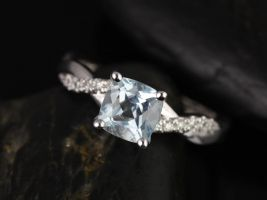 Rosados Box Tressa 6mm 14kt White Gold Cushion Aquamarine and Diamond Twist Engagement Ring