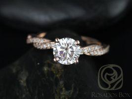 Rosados Box Twyla 6.5mm 14kt Rose Gold Round F1- Moissanite & Diamond Twist Engagement Ring