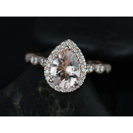Rosados Box Sydney 9x7mm Rose Gold Pear Morganite And Diamonds Halo And Leaves Engagement Ring