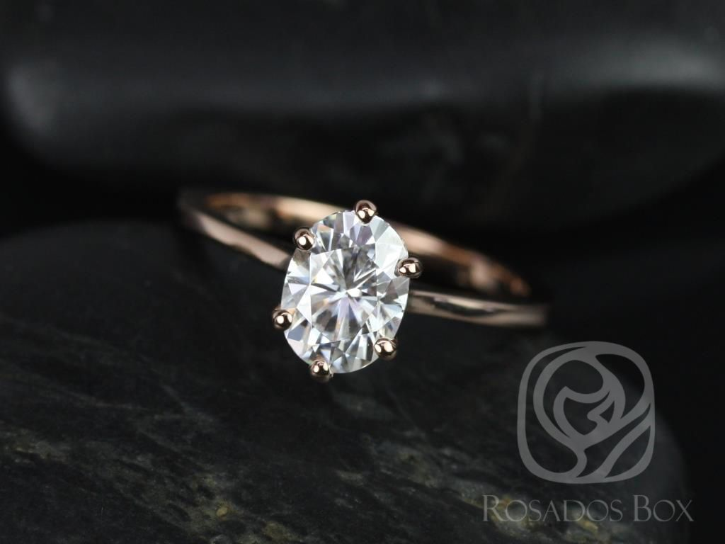 Rosados Box Skinny Lexus 8x6mm 14kt Rose Gold Oval F1 Moissanite Tulip Six Prong Cathedral Solitaire Engagement Ring