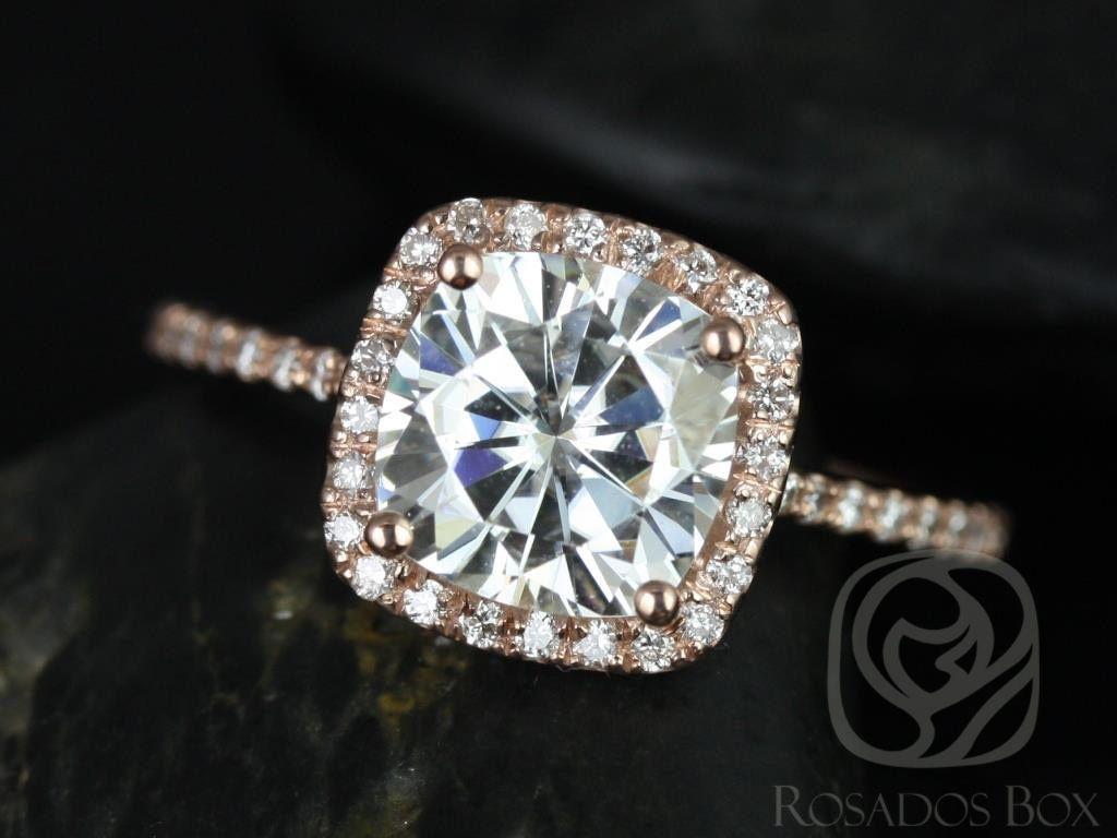 Rosados Box Catalina 7 5mm 14kt Rose Gold Cushion F1 Moissanite And Diamond Halo Engagement Ring