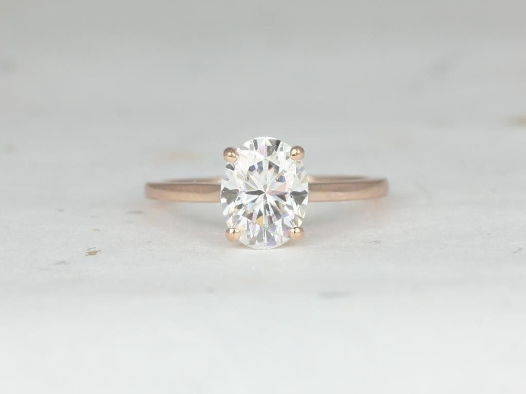 Rosados Box Delia 9x7mm 14kt Rose Gold Oval F1 Moissanite Extra Low Thin Skinny Engagement Ring