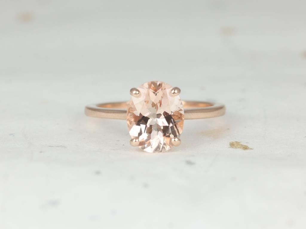 Rosados Box Delia 10x8mm 14kt Rose Gold Oval Morganite Extra Low Thin Skinny Engagement Ring