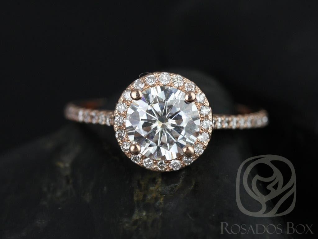 Rosados Box Kubian 7mm 14kt Rose Gold Round F1 Moissanite And Diamonds Halo Engagement Ring