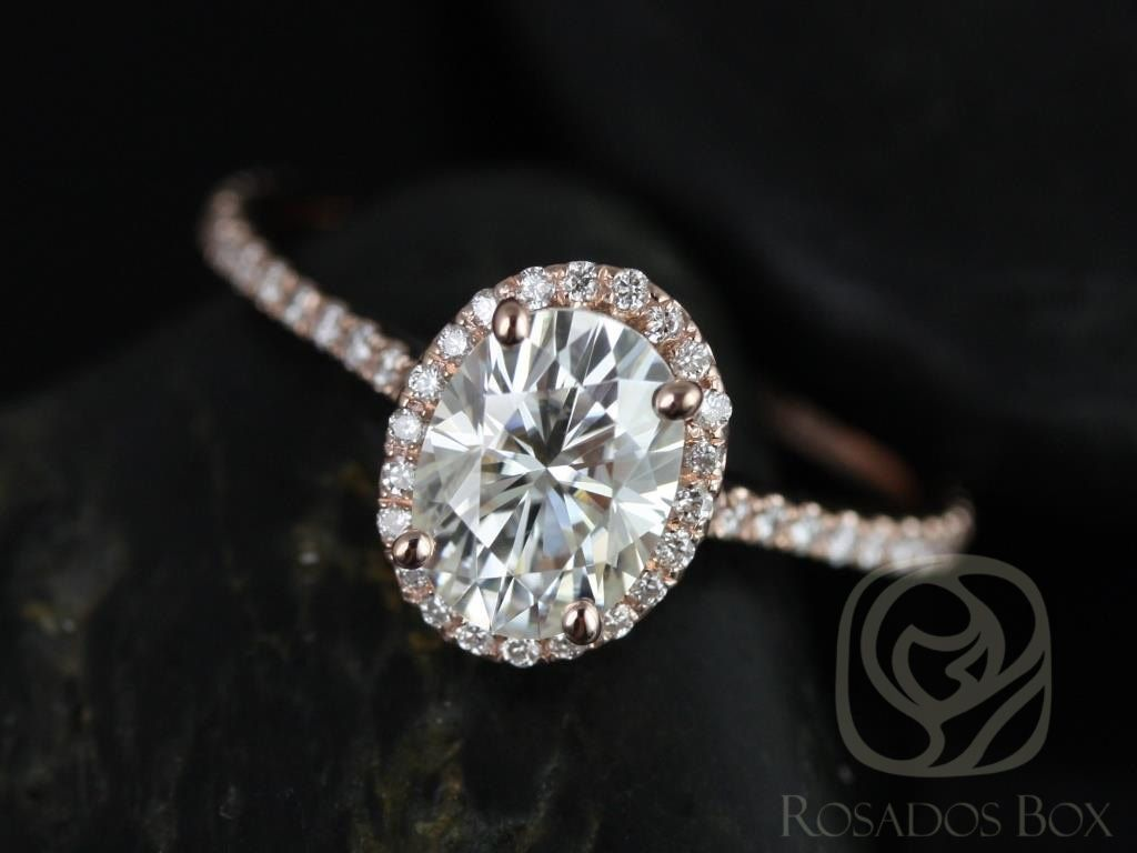 Rosados Box Rachel 8x6mm Rose Gold Thin Oval F1 Moissanite And Diamonds Halo Engagement Ring