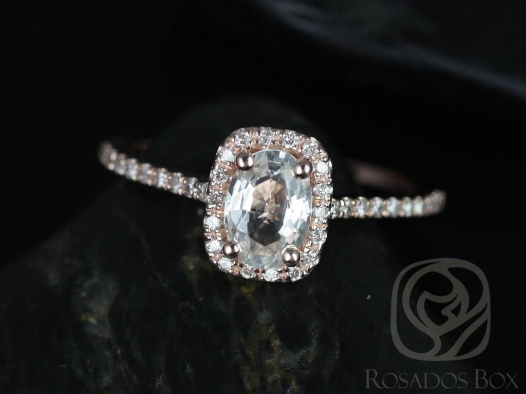 Rosados Box Romani 7x5mm Rose Gold Oval White Sapphire And Cushion Halo Diamond Engagement Ring