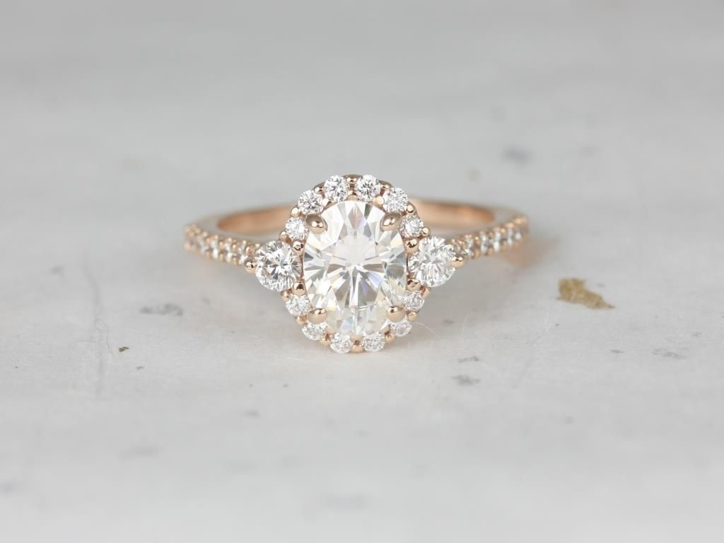 Rosados Box Bridgette 8x6mm Rose Gold Oval Forever One Moissanite And Diamonds Halo Engagement Ring