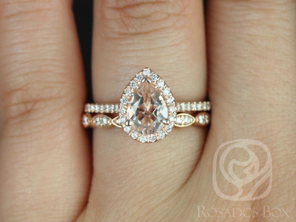 Rosados Box Tabitha 8x6mm And Christie Band Rose Gold Pear Morganite And Diamonds Halo Wedding Set