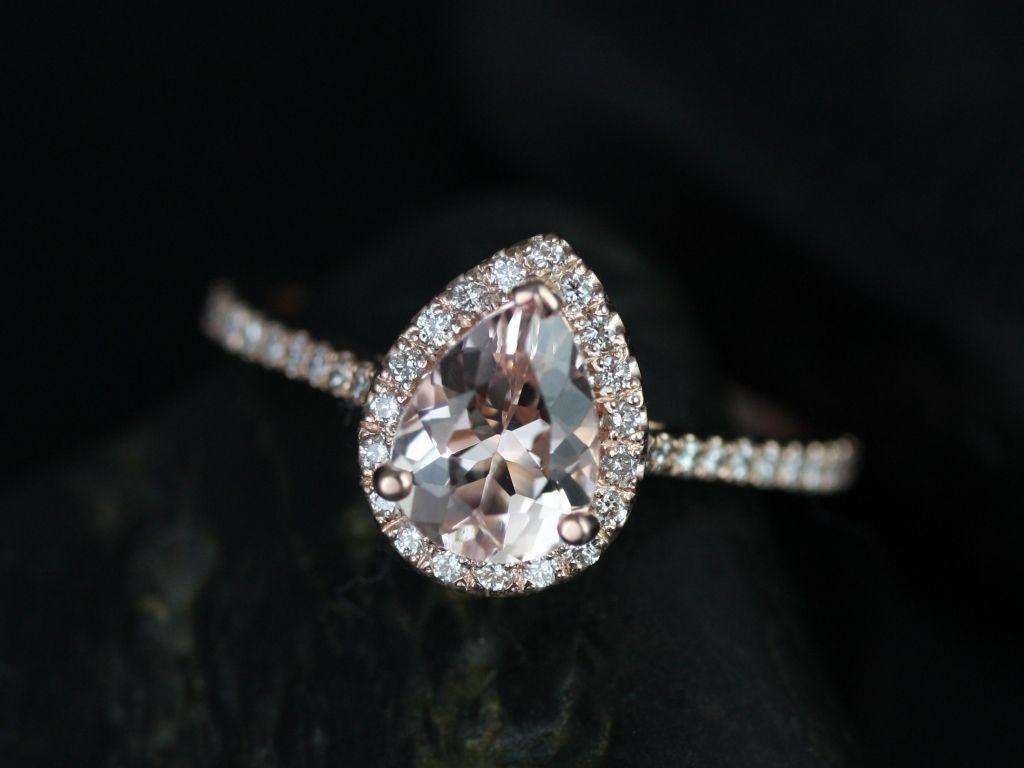 Rosados Box Tabitha 8x6mm Rose Gold Pear Morganite And Diamonds Halo Engagement Ring