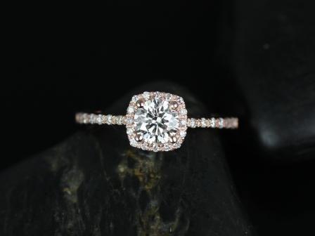 Rosados Box Barra 5mm Rose Gold Round Diamond Cushion Halo Engagement Ring